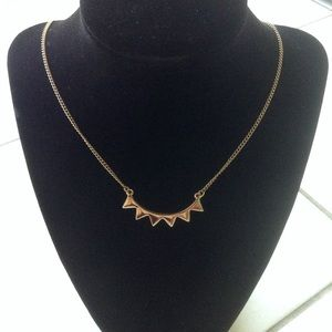 New Gold Curved Bar Spike Necklace